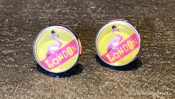 """Perceuses 14mm """"flamingo London"""" argentées"""