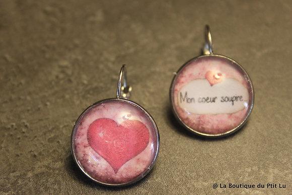 """Boucles d'oreilles cabochons """"Mon coeur soupire"""""""
