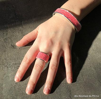 """Parure (bague+bracelet) """"Swarovski"""" corail"""