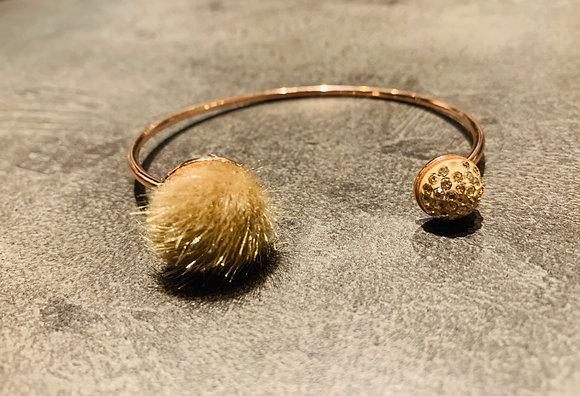 Bracelet rose doré Pavé Pur beige