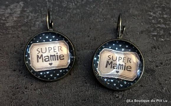 """Boucles d'oreilles 'Super Mamie"""""""