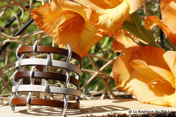 Bracelet manchette en cuir cognac, marron et crème
