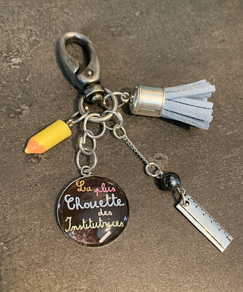 """Porte-clés """"La plus chouette des institutrices"""""""