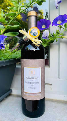 Coffret cadeau  à personnaliser Bordeaux rouge et  bouchon à vin