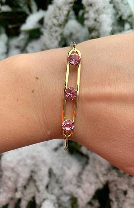 Bracelet triple Swarovski  doré & vieux rose