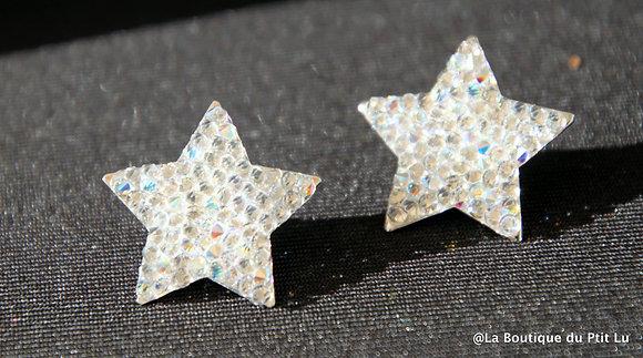 Boucles d'oreilles perceuses étoiles argentées