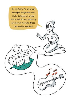 Screenshot of a Meaning Making comic page with a woman kneeling taling about her passion on music as well as the environemnt with a bubble saying: Hi, I'm Aditi! I'm an urban ecologist, songwriter and music composer. I would like to talk to you about my journey of merging these two worlds together!