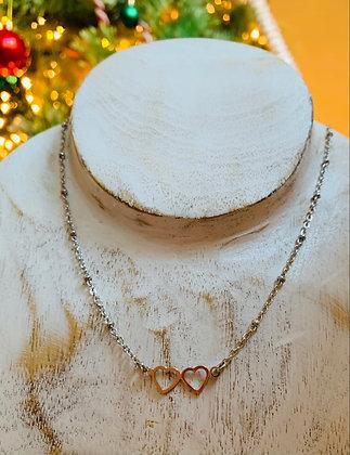 """Ensemble collier & bracelet  """"coeur"""" en acier inoxydable"""