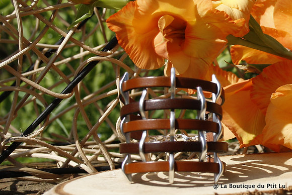 Bracelet manchette en cuir marron et cognac
