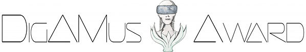 The DigAMus-Award logo with a sculpture of an agender head surrounded by leaves and wearing a VR headset