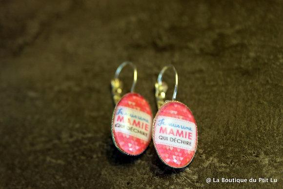 """Boucles d'oreilles cabochons """"Grand-mère qui ..."""""""