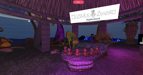Screenshot of the Award ceremony in a XR Hub which looks like a Tiki-Bar out of space and the logo of the DigAMus-Award - which is a sculpture with a agender head surrounded by leaves and wearing a VR headset.