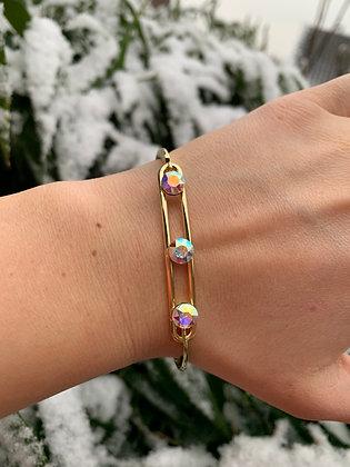 Bracelet triple Swarovski doré & multi-reflets
