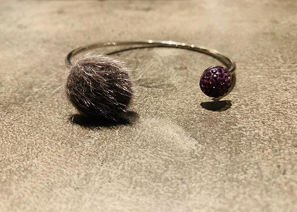 Bracelet argenté Pavé Pur aubergine