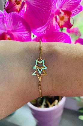 """Bracelet doré """"étoiles"""" en acier inoxydable"""
