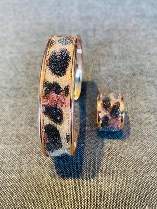 Bracelet & Bague Swarovski Léopard / Rose Doré