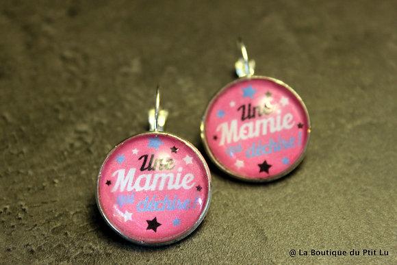 """Boucles d'oreilles cabochons """"Mamie qui ..."""""""