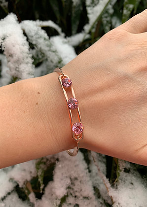 Bracelet triple Swarovski rose doré & rose poudré