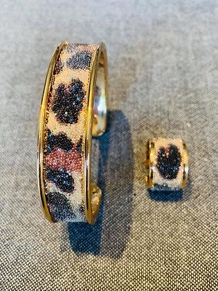 Bracelet & Bague Swarovski Leopard / Dorés