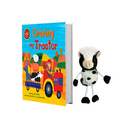 Driving My Tractor with Cow Finger Puppet