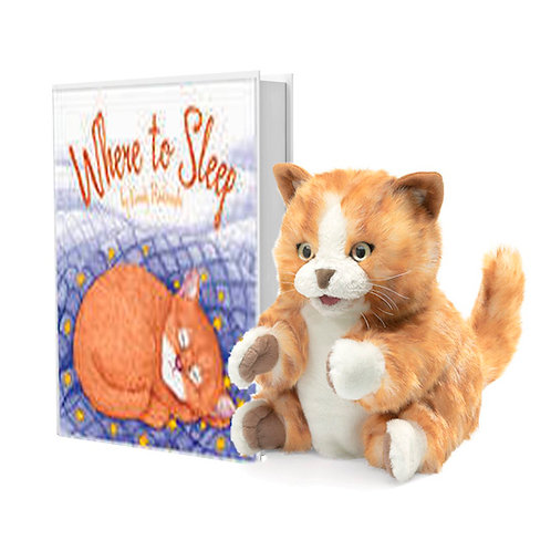 Where to Sleep Book with Tabby Cat Puppet
