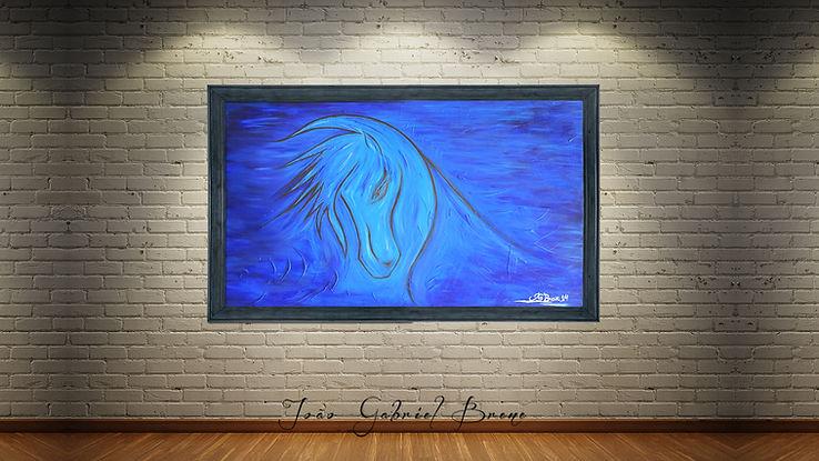 quadro,forma espacial, arte e expressão, especalista, pintura a oleo, escritor, pintor, quadros, picture, oil painting, pintura a oleo, cavalo, mandala azul