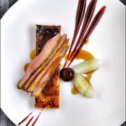 Pork Bellywith cranberry and honey glaze