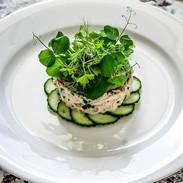 Crab Tian, Cucumber & Wasabi, Avocado Puree
