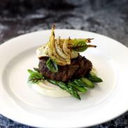 Beef Fillet, Potato Puree, Roasted Fennel & Asparagus