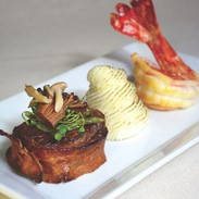 Surf and Turf Starter with creamed caulifower