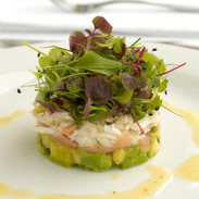 Crab, avocado, pickled ginger with  baby herbs