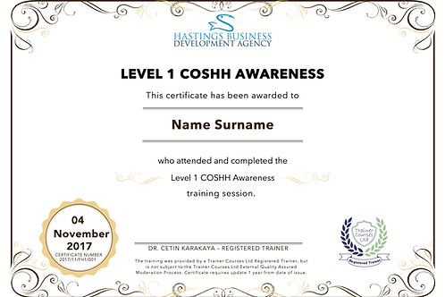 Level-1 COSHH Awareness Training Pack and Certificate