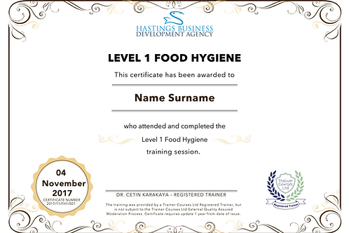 Level-1 Food Hygiene Training Pack and Certificate