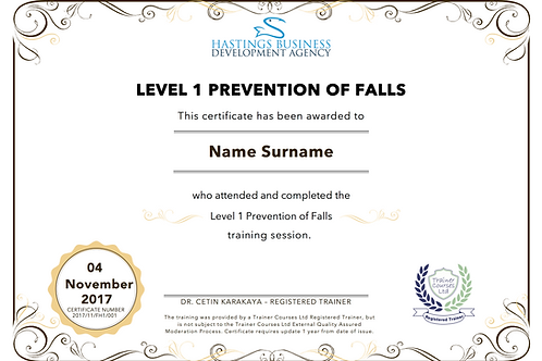 Level-1 Prevention of Falls Training Pack and Certificate
