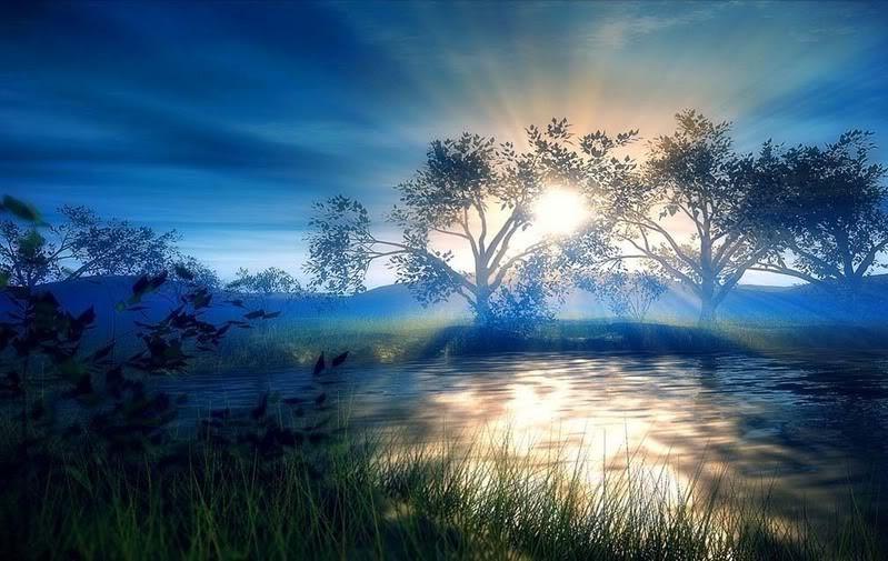 Beautiful misty sunrise