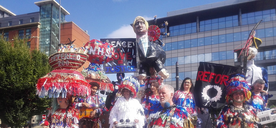 Cacophs on  Peterloo Monument, Mancheste