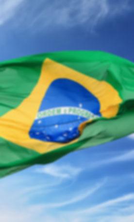 The Brazilian flag against the blue sky.