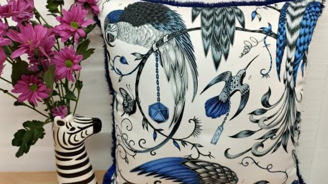 Navy and white satin parrot cushion