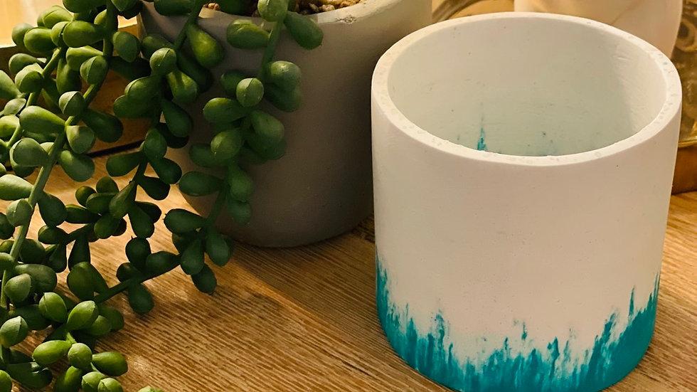Green and white Jesmonite pot