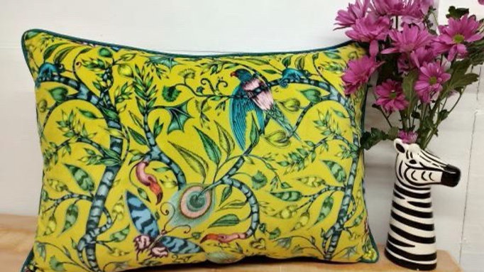 Beautiful yellow velvet birds cushion (large)
