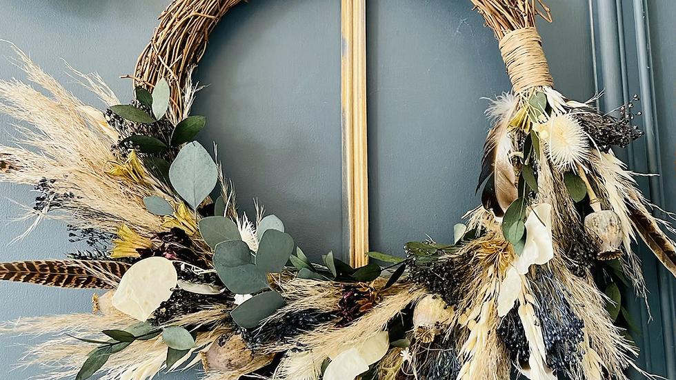 Large hand made dried wreath