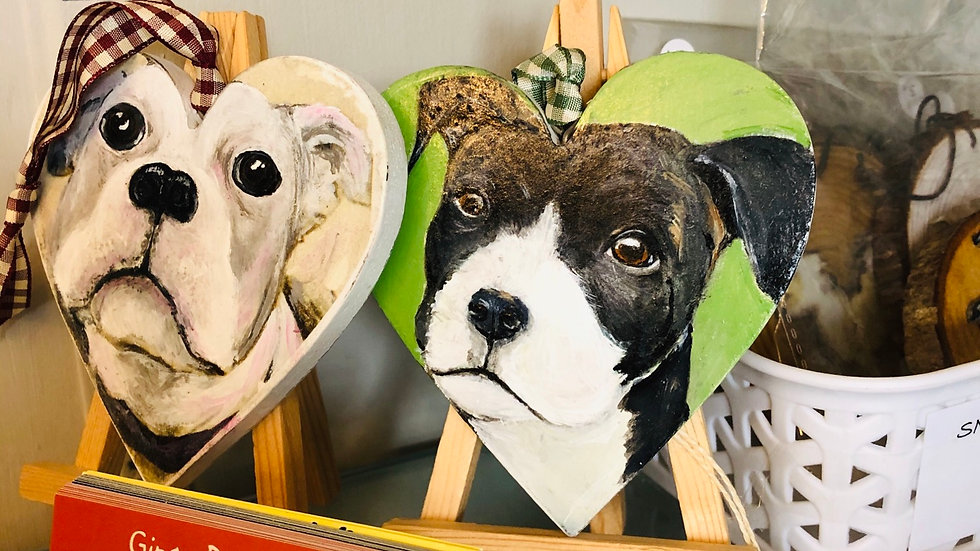 Hand painted dog plaques