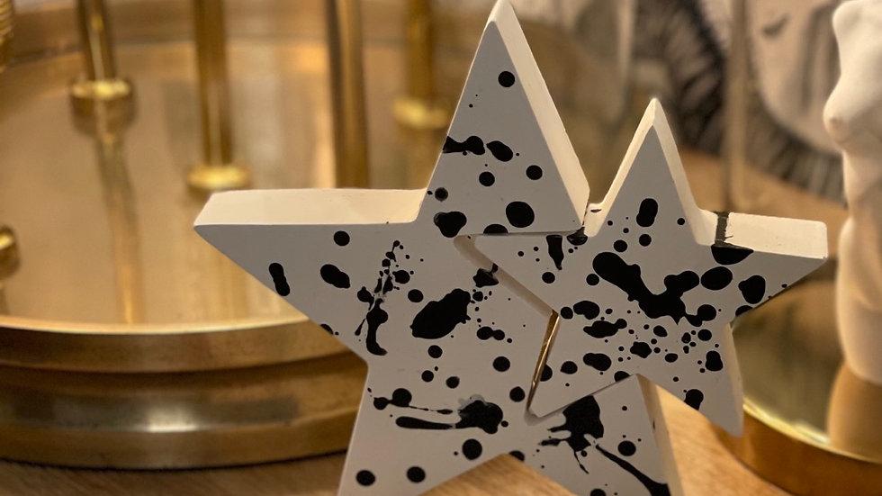 White and black splatter star