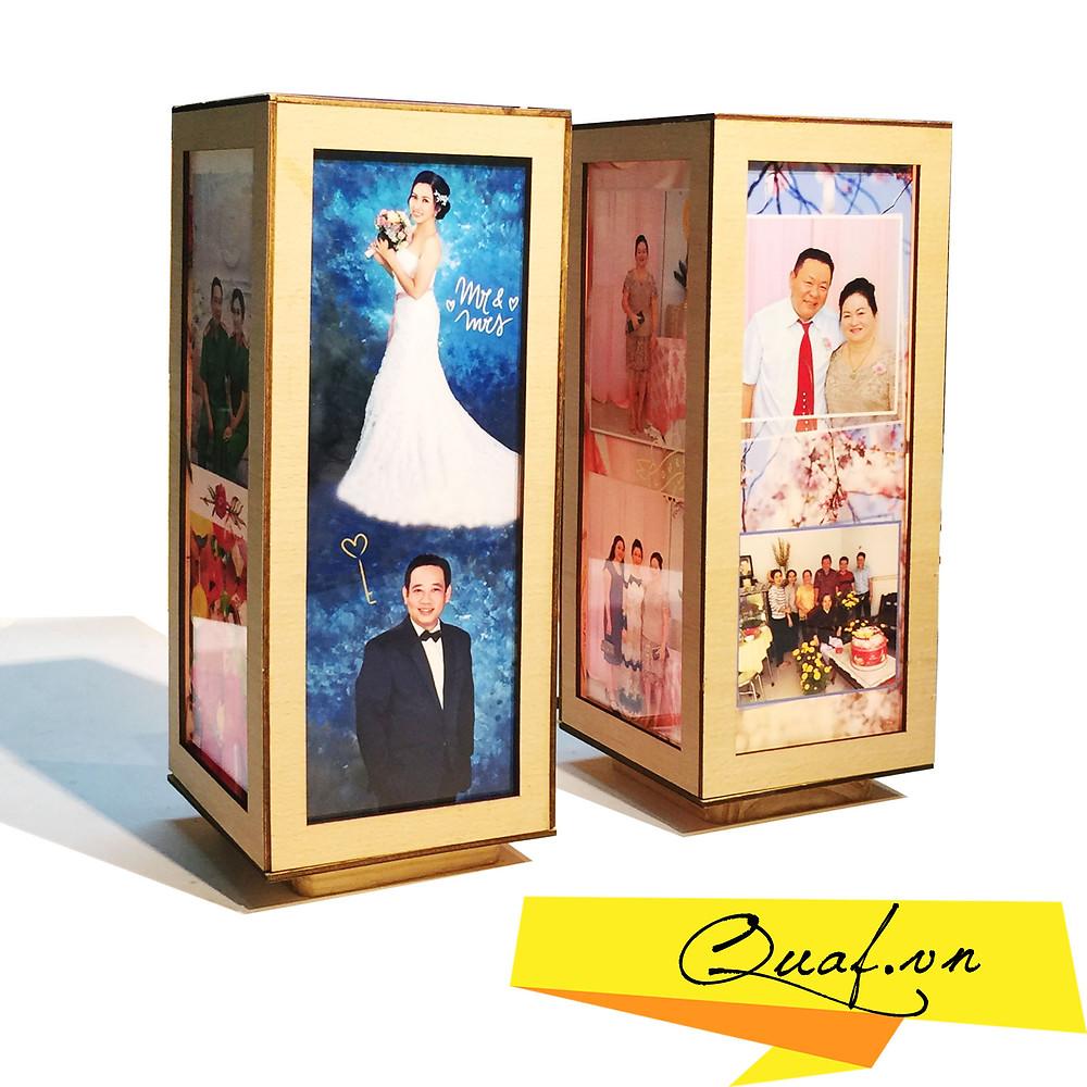 Quà tặng kỷ niệm ngày cưới - đèn tranh gỗ chữ nhật