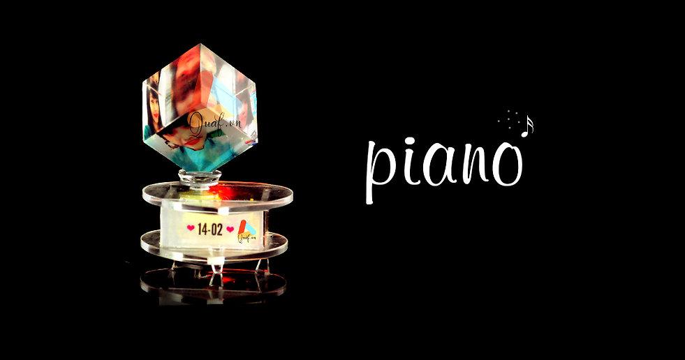 Pha lê lập phương xoay piano đế đèn