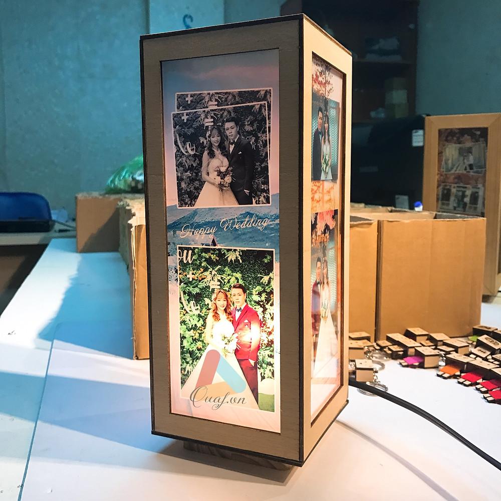 Quà tặng kỷ niệm ngày cưới bằng đèn tranh gỗ chữ nhật