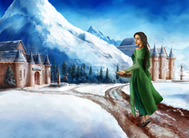 Here we have Justin Devenish's vision of Elisabeth's visit to the palace at the end of the winter. Such talent!