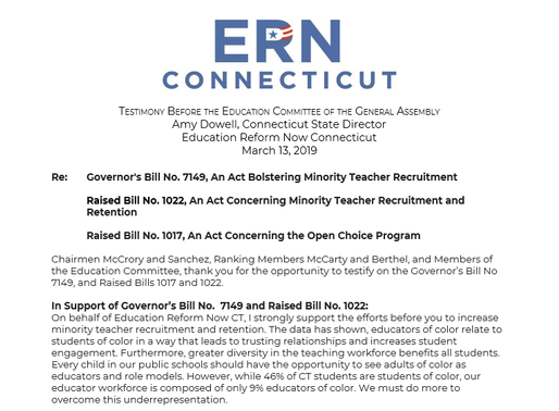 Testimony for the Education Committee: Minority Teacher Recruitment and Open Choice