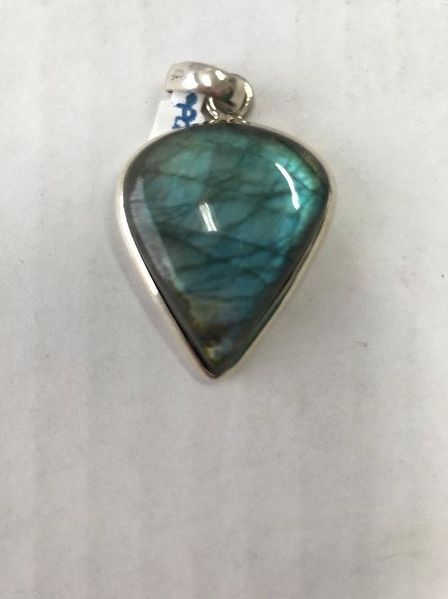 Labradorite Green Silver Pendant
