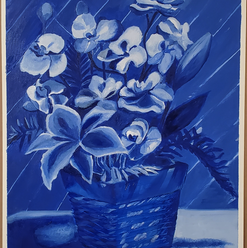 Oil Painting: Lily and Orchids
